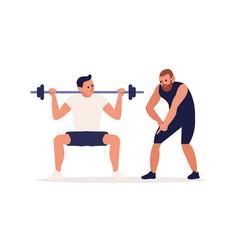 Coach training male client making squat vector