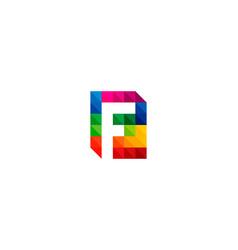 color letter f logo icon design vector image