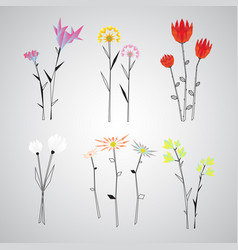 Colorful polygonal floral objects set vector