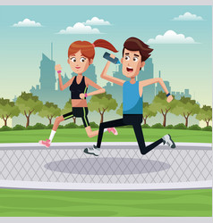 Couple running exercise park city vector