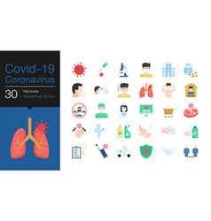 covid19-19 corona virus icons flat design world vector image