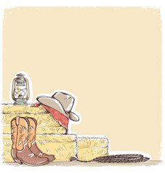 cowboy background with western boots and west hat vector image