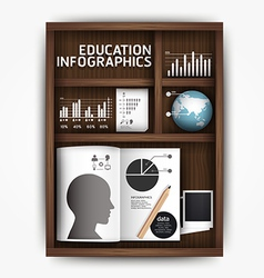 Creative infographics education shelf book box con vector image