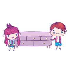 cute little girl and boy cartoon with wooden vector image