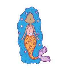 Cute mermaid fairy tales vector