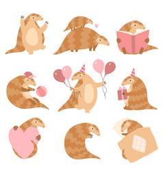 Cute pangolin animal cartoon characters in vector