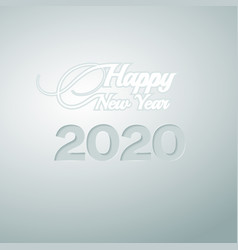 digits 2020 carved on paper and inscription vector image