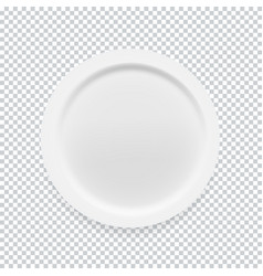 empty white round plate on transparent background vector image