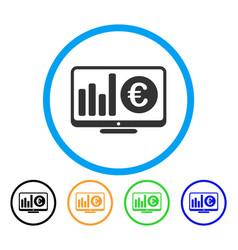 euro market monitoring rounded icon vector image