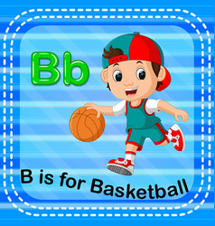flashcard letter b is for basketball vector image