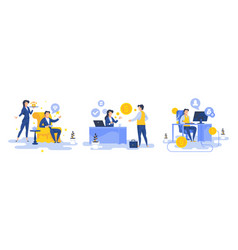 flat people working with finances set vector image