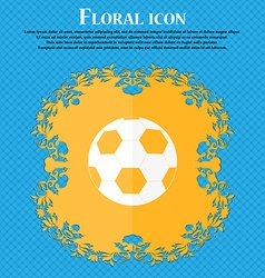 Football icon Floral flat design on a blue vector image