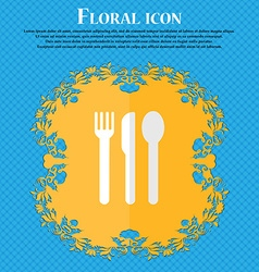 fork knife spoon Floral flat design on a blue vector image
