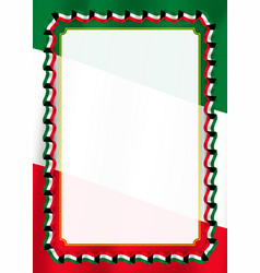 Frame and border of ribbon with kuwait flag vector