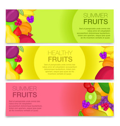 Fruits concept banners cartoon style vector