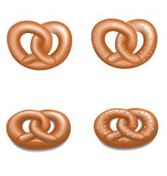German pretzel icon set realistic style vector