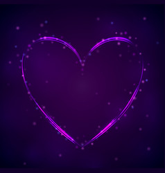 Glowing purple heart on dark background vector