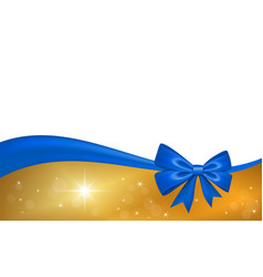 gold gift card with blue ribbon bow isolated on vector image