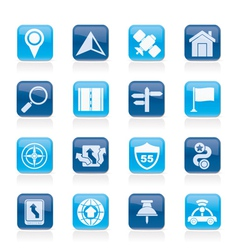 Gps navigation and road icons vector image