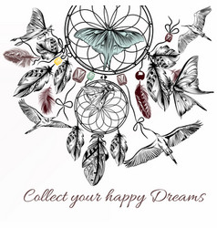 Hand drawn dream catcher in engraved style vector