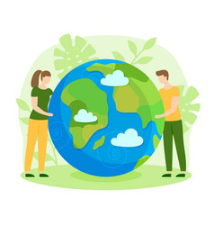 happy earth day nature care ecology flat vector image