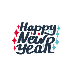 happy new year hand-lettering text vector image
