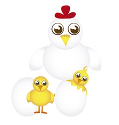 Hen and chicken cartoon with eggs isolated vector