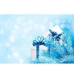 Holiday blue background with gift boxes and tree vector