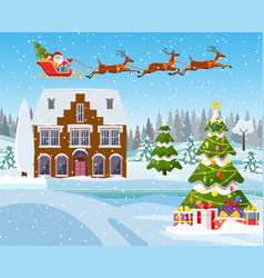 house in snowy christmas landscape vector image