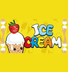 ice cream with strawberries vector image