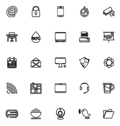 Internet cafe line icons on white background vector image