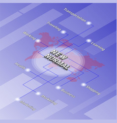 isometric background with word new normal vector image