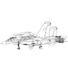 Jet fighter aircraft wire-frame concept vector