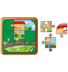Jigsaw puzzle game with kids rollerskating vector