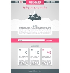 Landing website template Landing page design vector image
