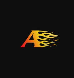 Letter a burning flame logo design template vector