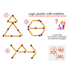Logical puzzle game with matches in each task vector