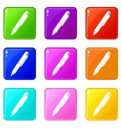 marker pen icons 9 set vector image