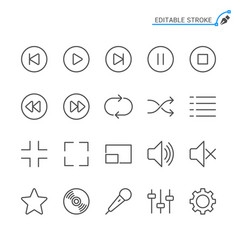 media player line icons editable stroke vector image