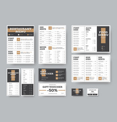 menu templates for cafes and restaurants in white vector image