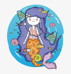 Mermaid woman underwater with shells and fishes vector