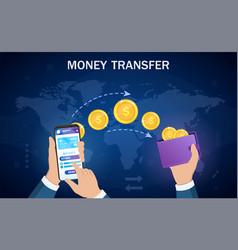 money transfer from digital wallet to wallet vector image