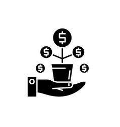money tree black icon sign on isolated vector image