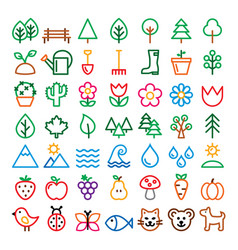 nature line icons set minimalist vector image