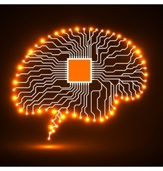 Neon brain cpu circuit board abstract vector