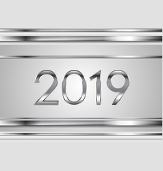 New year tech silver 2019 abstract background vector