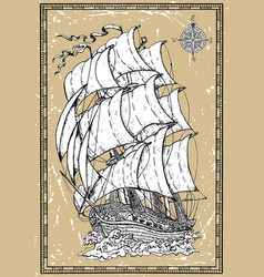 old romantic sailing vessel with compass vector image