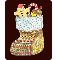 Ornate gift christmas watercolor sock vector