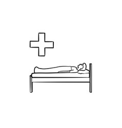 Patient lies on couch hand drawn outline vector