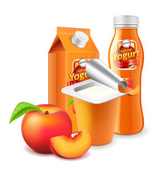 peach yogurt packagings 3d photo realistic vector image